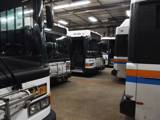 City Buses parked in the Poughkeepsie Garage