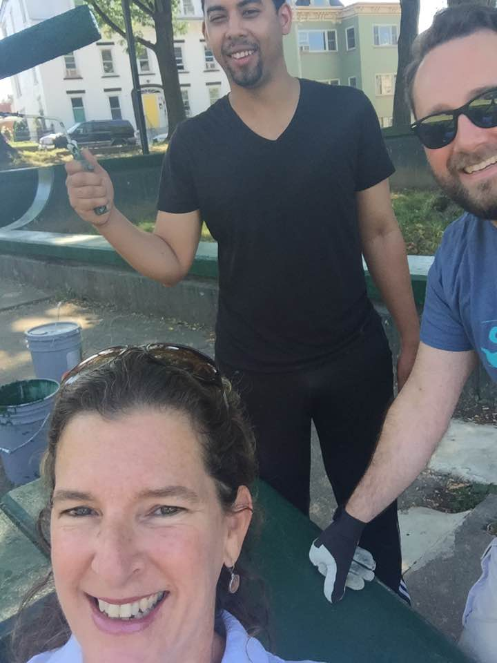 Kari Rieser, Nate Almeida, and Mike Young painting and cleaning Hulme Park in Poughkeepsie NY